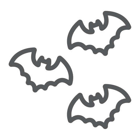 Bats line icon, spooky and animal, vampire sign, vector graphics, a linear pattern on a white background.