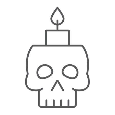 Skull with candle thin line icon, spooky and decor, halloween candle sign, vector graphics, a linear pattern on a white background. 写真素材 - 128745276