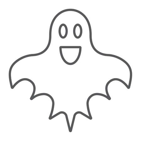Ghost thin line icon, halloween and horror, spirit sign, vector graphics, a linear pattern on a white background.  イラスト・ベクター素材