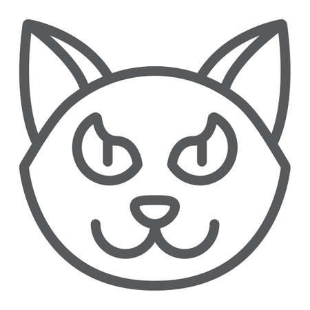 Halloween cat line icon, animal and magic, pet sign, vector graphics, a linear pattern on a white background. 写真素材 - 128745351