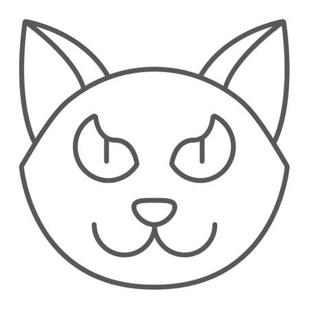 Halloween cat thin line icon, animal and magic, pet sign, vector graphics, a linear pattern on a white background. Standard-Bild - 128745357