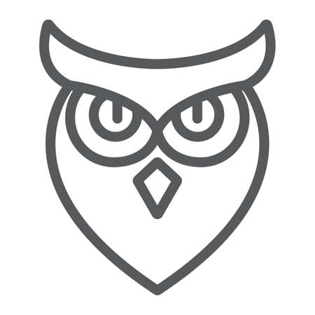 Halloween owl line icon, animal and wisdom, bird sign, vector graphics, a linear pattern on a white background.  イラスト・ベクター素材