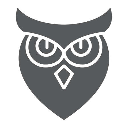 Halloween owl glyph icon, animal and wisdom, bird sign, vector graphics, a solid pattern on a white background. 写真素材 - 128745361