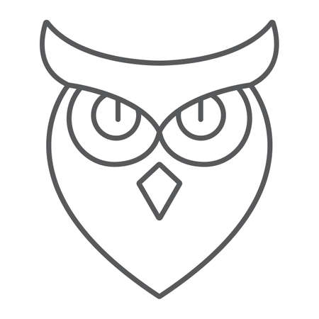 Halloween owl thin line icon, animal and wisdom, bird sign, vector graphics, a linear pattern on a white background.