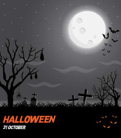 Happy halloween vector poster, halloween banner, halloween background, halloween party, vector illustration. Standard-Bild - 128745379