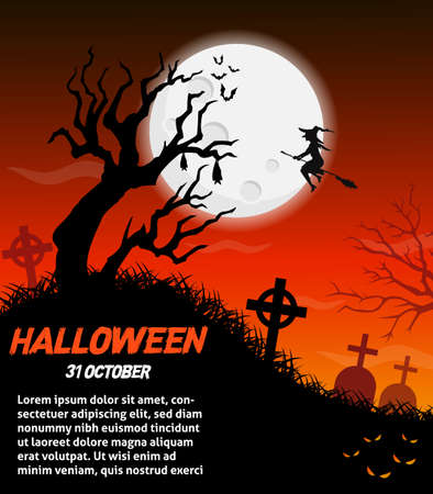 Happy halloween vector poster, halloween banner, halloween background, halloween party, vector illustration. Standard-Bild - 128745606