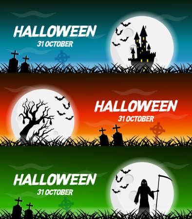 Happy halloween vector poster, halloween banner, halloween background, halloween party, vector illustration. 写真素材 - 128745603