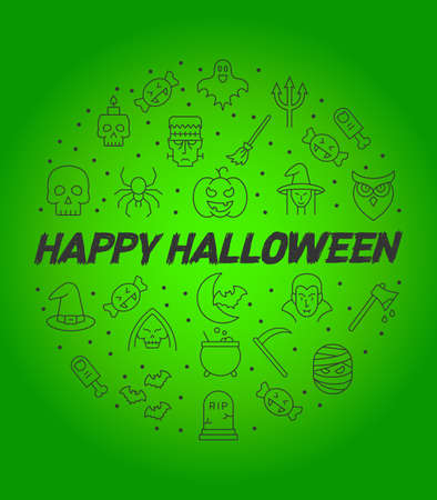 Halloween circle infographics, Happy halloween vector poster, halloween banner, halloween background, halloween party, vector illustration 写真素材 - 129037864