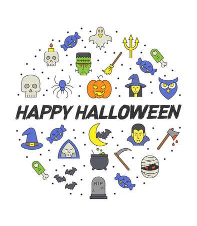 Halloween circle infographics, Happy halloween vector poster, halloween banner, halloween background, halloween party, vector illustration  イラスト・ベクター素材