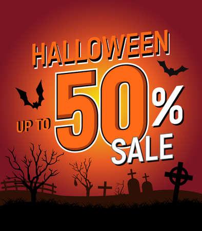 Halloween 50 percent sale, halloween discount background, halloween offer banner, vector illustration  イラスト・ベクター素材
