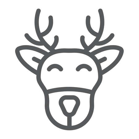 Christmas deer line icon, christmas and moose, reindeer sign, vector graphics, a linear pattern on a white background.