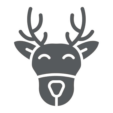 Christmas deer glyph icon, christmas and moose, reindeer sign, vector graphics, a solid pattern on a white background.