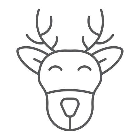 Christmas deer thin line icon, christmas and moose, reindeer sign, vector graphics, a linear pattern on a white background.  イラスト・ベクター素材