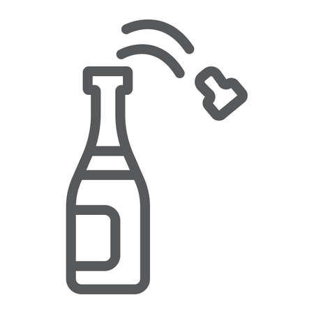 Champagne bottle line icon, party and drink, alcohol sign, vector graphics, a linear pattern on a white background.