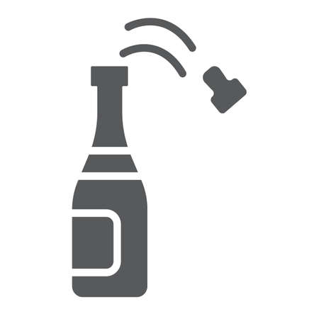 Champagne bottle glyph icon, party and drink, alcohol sign, vector graphics, a solid pattern on a white background.