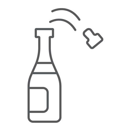 Champagne bottle thin line icon, party and drink, alcohol sign, vector graphics, a linear pattern on a white background. Ilustrace
