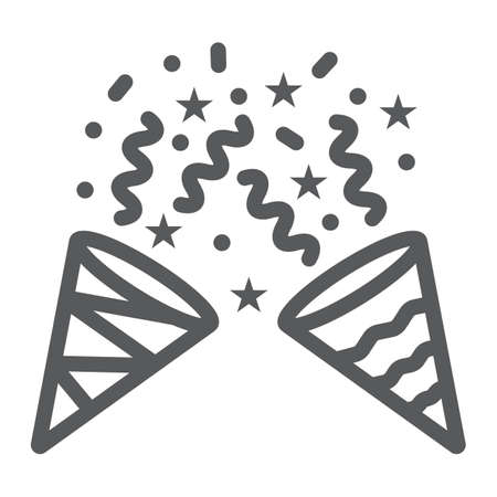 Confetti popper line icon, party and decor, party hat sign, vector graphics, a linear pattern on a white background.