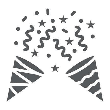 Confetti popper glyph icon, party and decor, party hat sign, vector graphics, a solid pattern on a white background.