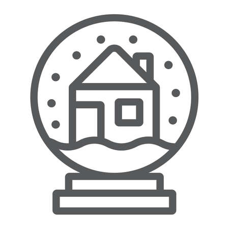 Snow globe line icon, holiday and decor, glass ball sign, vector graphics, a linear pattern on a white background.