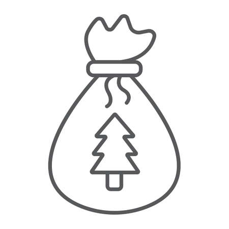 Santas bag thin line icon, christmas and gift, christmas sack sign, vector graphics, a linear pattern on a white background.