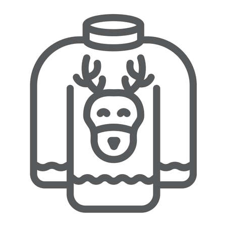 Christmas sweater line icon, holiday and clothes, sweater with deer sign, vector graphics, a linear pattern on a white background.
