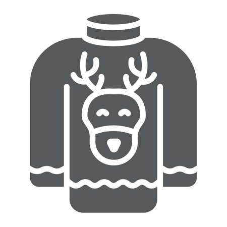 Christmas sweater glyph icon, holiday and clothes, sweater with deer sign, vector graphics, a solid pattern on a white background.
