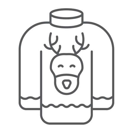 Christmas sweater thin line icon, holiday and clothes, sweater with deer sign, vector graphics, a linear pattern on a white background.