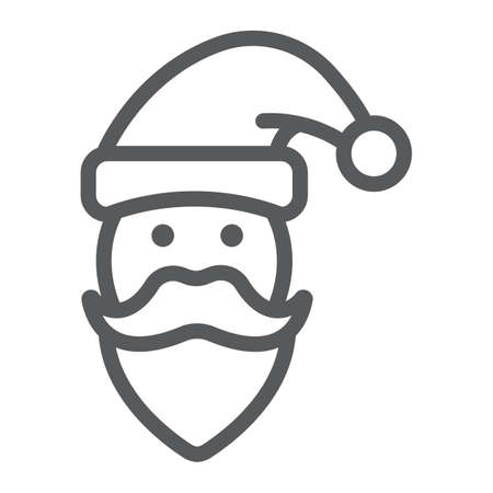 Santa Claus line icon, christmas and new year, character face sign, vector graphics, a linear pattern on a white background.