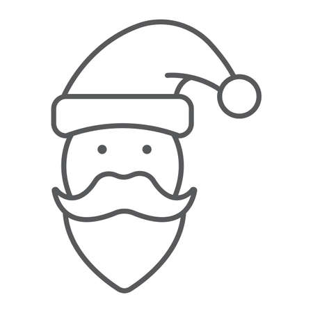Santa Claus thin line icon, christmas and new year, character face sign, vector graphics, a linear pattern on a white background. Ilustração