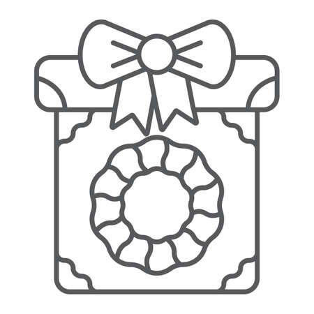 Christmas box thin line icon, present and new year, present package sign, vector graphics, a linear pattern on a white background.