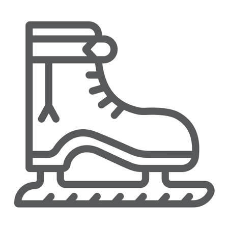 Ice skate line icon, christmas and new year, skating shoe sign, vector graphics, a linear pattern on a white background.