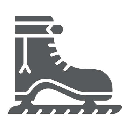 Ice skate glyph icon, christmas and new year, skating shoe sign, vector graphics, a solid pattern on a white background.