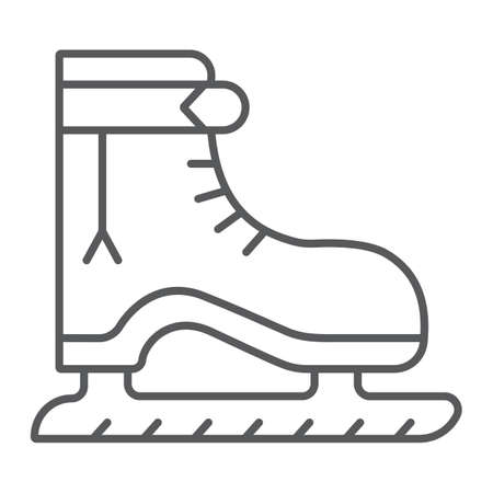 Ice skate thin line icon, christmas and new year, skating shoe sign, vector graphics, a linear pattern on a white background.