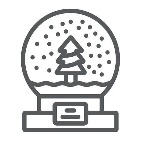 Snow globe line icon, christmas and new year, glass sphere sign, vector graphics, a linear pattern on a white background.