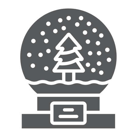 Snow globe glyph icon, christmas and new year, glass sphere sign, vector graphics, a solid pattern on a white background.