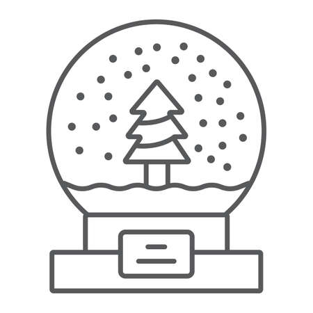 Snow globe thin line icon, christmas and new year, glass sphere sign, vector graphics, a linear pattern on a white background. Ilustracja