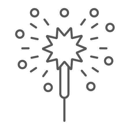 Bengal lights thin line icon, christmas and new year, festive sparkler sign, vector graphics, a linear pattern on a white background.