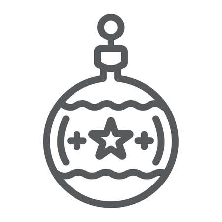 Tree ball line icon, christmas and new year, festive toy ball sign, vector graphics, a linear pattern on a white background.