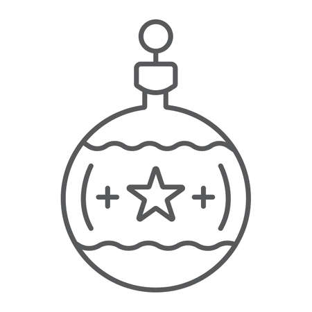 Tree ball thin line icon, christmas and new year, festive toy ball sign, vector graphics, a linear pattern on a white background. Ilustrace