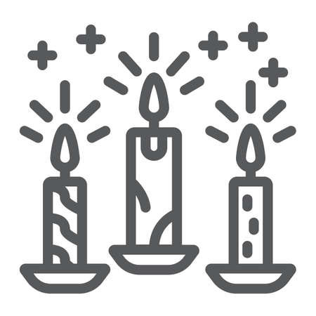 Christmas candle line icon, christmas and decor, candlelight sign, vector graphics, a linear pattern on a white background. Ilustrace