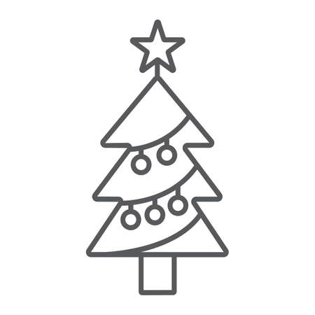 Christmas tree thin line icon, decor and new year, fir tree sign, vector graphics, a linear pattern on a white background. Ilustração