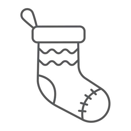 Christmas sock thin line icon, decor and new year, festive stocking sign, vector graphics, a linear pattern on a white background.