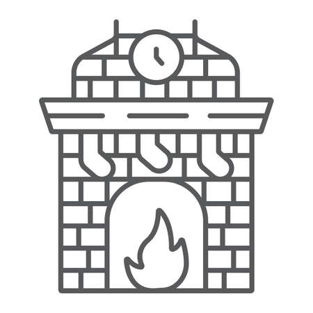 Christmas fireplace thin line icon, holiday and fire, fireplace with stocking sign, vector graphics, a linear pattern on a white background. Ilustrace