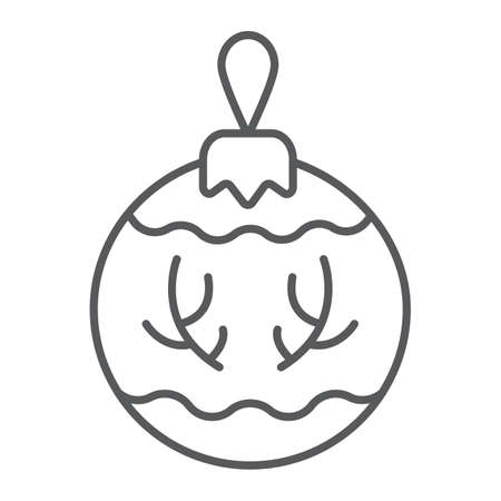 Christmas tree ball thin line icon, party and new year, glass toy sign, vector graphics, a linear pattern on a white background. Иллюстрация