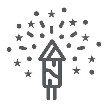 Christmas firework line icon, party and new year, firecracker sign, vector graphics, a linear pattern on a white background. Illustration