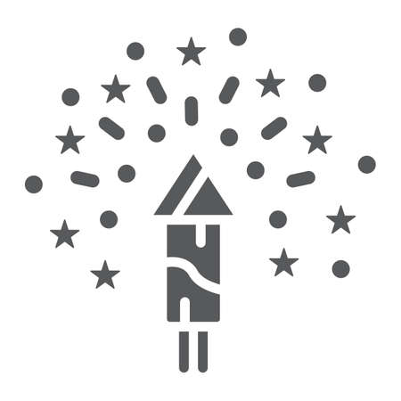 Christmas firework glyph icon, party and new year, firecracker sign, vector graphics, a solid pattern on a white background.