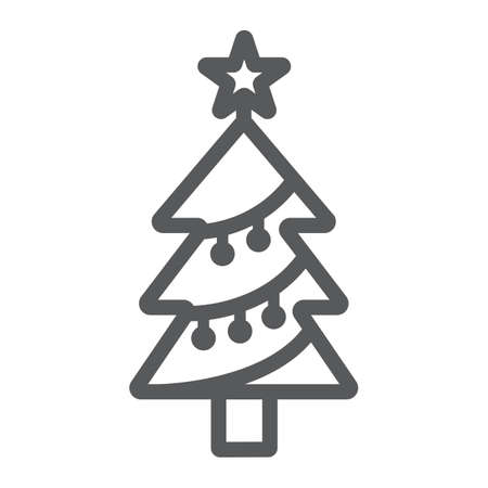 Christmas tree line icon, decor and new year, fir tree sign, vector graphics, a linear pattern on a white background.