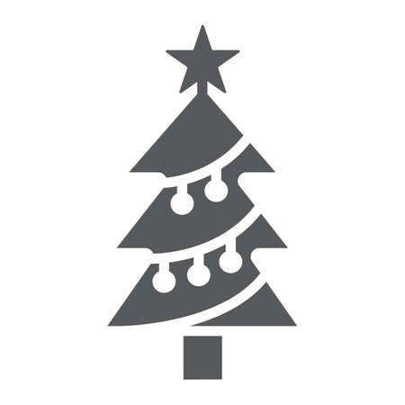 Christmas tree glyph icon, decor and new year, fir tree sign, vector graphics, a solid pattern on a white background. Иллюстрация