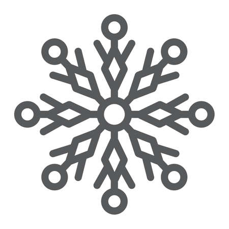 Snowflake line icon, winter and ice, snow sign, vector graphics, a linear pattern on a white background.