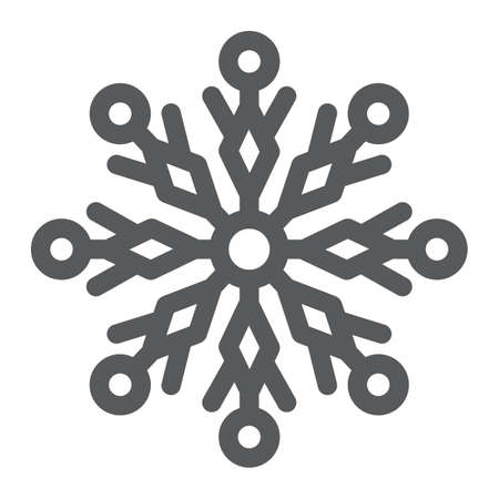 Snowflake glyph icon, winter and ice, snow sign, vector graphics, a solid pattern on a white background.